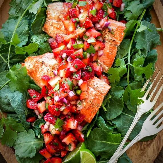 Healthy salmon dish
