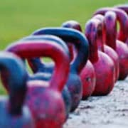 Row of kettlebells